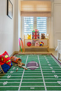 """3'3""""x8' Football Field Ground Kids Play Area Rug Anti Skid Rubber Backing-700"""