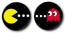 PACMAN & GHOST - 2x 1 inch / 25mm Button Badges - Novelty Cute Arcade 80's