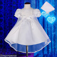 Embroidery Satin Baptism Christening Gown Dress Cape Bonnet Infant Age 0-12m #09