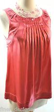 BCBG MAX AZRIA Coral TANK Top Silk Sleeveless Shirt Blouse cami pleated NEW XXS