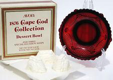 Avon 1876 Cape Cod Collection Ruby Red Dessert Fruit Bowl Sandwich Glass w Soap
