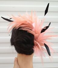 coral peach nude fascinator millinery feather comb hat hair piece party