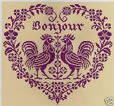 GRILLE POINT de CROIX  - COEUR BONJOUR - réf : 4010
