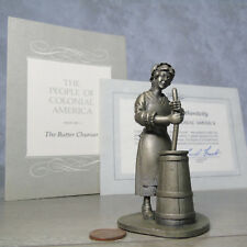 Pewter Butter Churner Figure Franklin Mint Colonial America American People 1974
