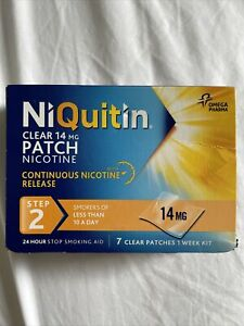 NiQuitin CLEAR 14 MG PATCH NICOTINE, STEP 2 7 CLEAR PATCHES, 1 WEEK KIT smoking