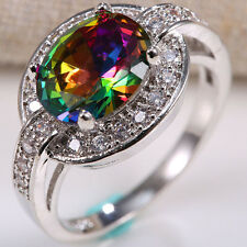 Men Women 925 Silver 1.8Ct Gold Rainbow Topaz Ring Wedding Jewelry Size 7-9