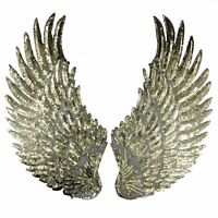 Golden color WING EMBROIDERED FABRIC APPLIQUE SEW IT / IRON ON PATCH BADGE