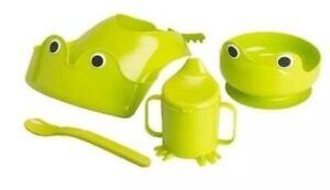Ikea Mata 4 Piece Feeding Set Green Frog Bib Bowl Cup and Spoon Set