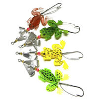 4x Frog Soft Fish Sequin Single Hook Bait Spinner Fishing Lures Weedless Hook