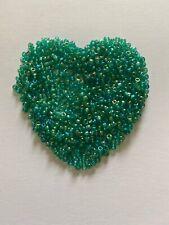 10g 30oz 2mm Czech Glass Iridescent Jade Green  Approximately 500+ Beads