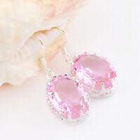 Gorgeous Valentine's Jewelry Oval Cut Pink Topaz Gemstone Silver Dangle Earrings