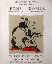 PONS et ROMER Rare Affiche Originale 1967 Exposition Aéroport de Paris ORLY
