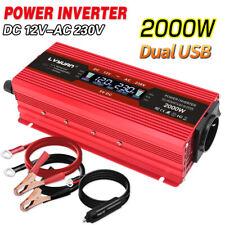 1000W 2000W Spannungswandler DC 12V auf AC 230V Inverter Wechselrichter 2USB LCD