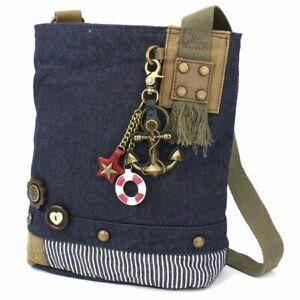 New Chala Patch Crossbody Messenger  Bag  Denim Navy Blue METAL ANCHOR Key Chain