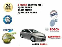 FOR TOYOTA AURIS 1.3 1.6 1.8 HYBRID 2012-> OIL AIR POLLEN 3 FILTER SERVICE KIT