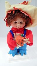 MIB 1993 Santa's Best Halloween Kids Motionette Scarecrow Boy w/ Jack O Lantern