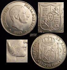 *GUTSE*239-ALFONSO XII, 50 CENTAVOS DE PESO 1885 FILIPINAS, BRILLO ORIGINAL S/C-