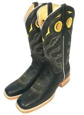 MEN'S COWBOY WESTERN EXOTIC BOOTS OSTRICH SKIN SQUARE TOE RODEO BROWN 13