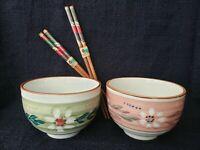 Set of 2 Japan Hand Painted Rice Ramen Bowls & Matching Hashi Kaidou Chopsticks.