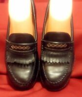 Woman's ARIAT Leather Loafers Fringe Sz 6 Black