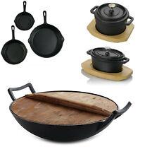 Pre-Seasoned Cast Iron Mini Dutch Oven Sauce Pan - Wok With Lid - Fry Pan Set