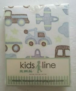 Kids Line Changing Pad Cover - Mosaic Transport NEW Cars Trucks Airplanes