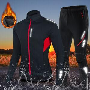 Men's Cycling Jacket & Pants Set Winter Fleece Warm Waterproof Suits Reflective