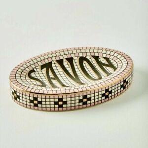 Anthropologie Bistro Tile Savon Soap Dish Very French Art Deco
