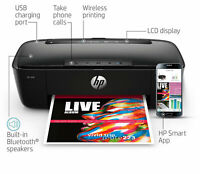 HP AMP 100 All-in-One Printer, Integrated Bluetooth Speaker, Mobile Print, Black