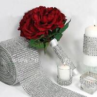 Diamant Strass Band Mesh Verpackungs Hochzeit Blumenschmuck Supplies silber 4.6