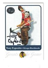 Tony Esposito AUTOGRAPH 2001 FLEER GREATS OF THE CARD SIGNED CHICAGO BLACKHAWKS