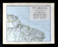 1892 Stieler Map South America Brazil Guyana Belem Recife Natal Fortaleza Amazon