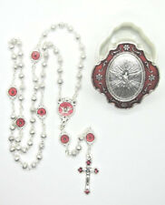 "Petite Holy Spirit Rosary Red Enamel Accents 15""  w/ Two-Tone Case  Italy"