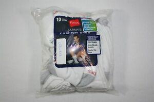 034X03 Hanes 84L10 Cushion Crew Socks (10-Pack) OSFM White (NWD)