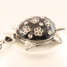 Black Flower Turtle Keychain Rhinestone Crystal Charm Animal Insects Gift 01236