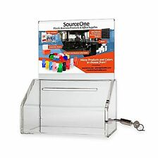 SourceOne Donation Box with Lock  5-Inch Wide Acrylic Storage C... Free Shipping