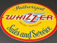 VINTAGE WHIZZER MOTORCYCLE & MOTOR BIKE SALES PORCELAIN METAL CYCLE GAS OIL SIGN