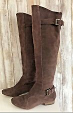 Joie Many Roads Over The Knee Brown Suede Flat Boots Buckle Zipper 37 6.5 RARE*