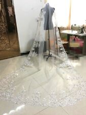 Amazing White Ivory Lace Wedding Veil Bridal Veils Sequin Cathedral Comb Beaded