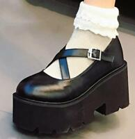 Retro Womens Round Toe Gothic Wedge Heels Platform Creepers Buckle Lolita Shoes
