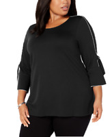 Alfani Plus Size Printed Banded-Hem Top in Deep Black, Size 1X, Retail $75.50