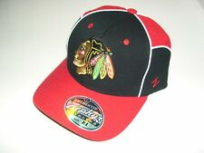 New Chicago Blackhawks Stretch XL Baseball Hat Cap Black Red Zephyr Embroidered
