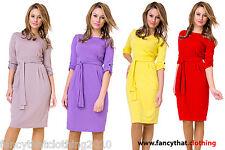 Women's Midi Shift Casual Office Dress + Belt Boat Neck 3/4 Sleeve Dress