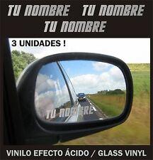 x3 Stickers Vinilo Pon tu Nombre - Efecto Acido - Espejo - Retrovisor - Pegatina