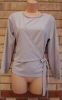 GREY LONG SLEEVE WRAP WRAPPED BELTED SIDE FORMAL PARTY TOP BLOUSE T SHIRT 8 S