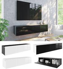 TV Lowboard 140 cm 160 Hängeboard ACRYL HOCHGLANZ 18mm MDF Schrank weiß schwarz