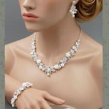 Rose Pearl Crystal Necklace Earrings Bracelet Bridal Wedding Jewelry Set Silver
