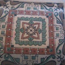 200CM X 90CM VINTAGE Cotton Fabric 1950S BROWN Intricately Detailed Geometric