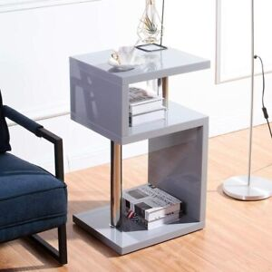 Small Square Table Side Sofa End High Gloss Furniture Modern Grey Retro Storage