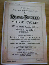 VINTAGE ROYAL ENFIELD SPARES BOOK  1935 MOD G H J & F